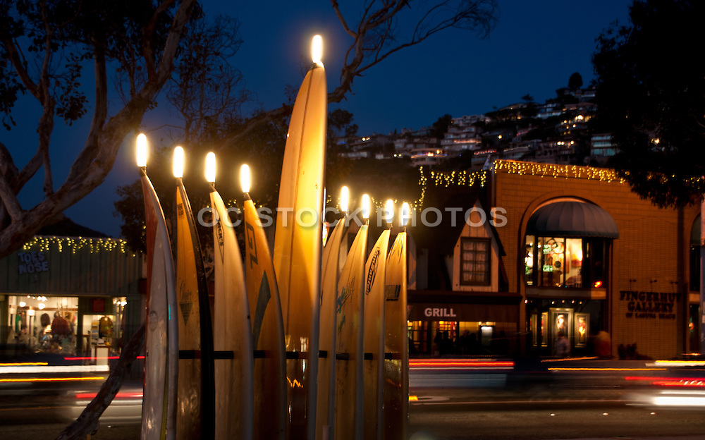 Lighted Menorrah Surfboards in Laguna Beach