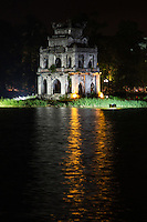 Turtle Tower, which is also called Tortoise Tower, is a small tower in the middle of Hanoi's Hoan Kiem Lake. Both Turtle Tower and Hoan Kiem Lake are often portrayed as the icons of Hanoi.