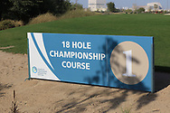 Sign at the 1st during the Preview of the Commercial Bank Qatar Masters 2020 at the Education City Golf Club, Doha, Qatar . 03/03/2020<br /> Picture: Golffile | Thos Caffrey<br /> <br /> <br /> All photo usage must carry mandatory copyright credit (© Golffile | Thos Caffrey)