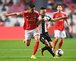 LISBON, Feb. 11, 2019  Andre Almeida (L) of Benfica vies with Joao Camacho of Nacional during the Portuguese League soccer match between SL Benfica and CD Nacional at Luz stadium in Lisbon, Portugal, on Feb. 10, 2019. Benfica won 10-0. (Credit Image: © Xinhua via ZUMA Wire)