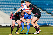 Halifax RLFC centre Benjamin Heaton (2) in the tackle on Rochdale Hornets winger Rob Massam (5)  during the Betfred Championship match between Rochdale Hornets and Halifax RLFC at Spotland, Rochdale, England on 25 February 2018. Picture by Simon Davies.