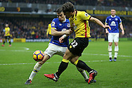 Daryl Janmaat of Watford and Seamus Coleman of Everton compete for the ball. Premier league match, Watford v Everton at Vicarage Road in Watford, London on Saturday 10th December 2016.<br /> pic by John Patrick Fletcher, Andrew Orchard sports photography.