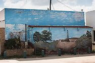 Mural featuring a drilling rig on a restaurant in Big Lake Texas, in the Permian Basin region in West Texas.