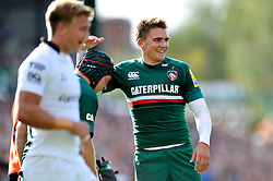Leicester Tigers fly half Toby Flood is all smiles - Photo mandatory by-line: Patrick Khachfe/JMP - Tel: Mobile: 07966 386802 - 21/09/2013 - SPORT - RUGBY UNION - Welford Road Stadium - Leicester Tigers v Newcastle Falcons - Aviva Premiership.
