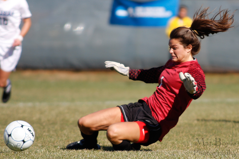 Manhattenville Goal Keeper Ali Bromsonduring recovers a loss ball during the first round of the NCAA Division 3 Women's Soccer tournament held at Rowan University in Glassboro, NJ on Saturday November 13, 2010.
