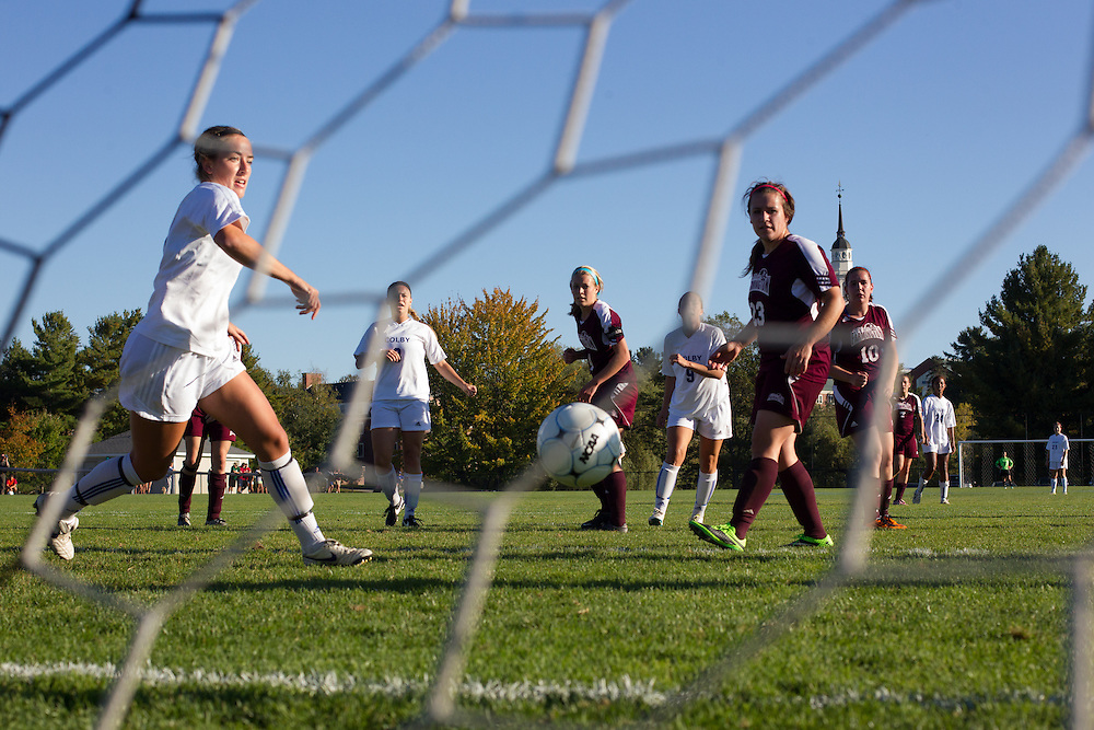 Abby Hatch, of Colby College, shoots in the first half of a NCAA Division III soccer game against Maine Farmington on October 1, 2013 in Waterville, ME. (Dustin Satloff/Colby College Athletics)