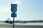 Nebraska NE USA, An Interstate 80 sign covered with ice