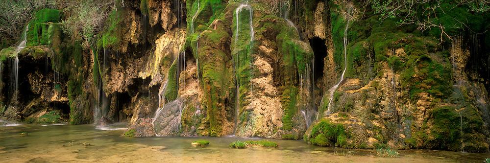 SPAIN, CASTILE LA MANCHA Waterfalls at the headwaters of Rio Cuervo in the Sierra de Cuenca, N. of Cuenca