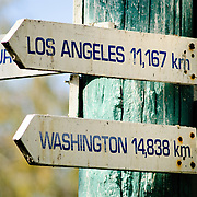 Lady Elliot Island is remote. These distance signs to Los Angeles and Washington show just how far.