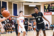 NORTH AUGUSTA, SC. July 10, 2019. Niels Lane 2020 #4 of Team Final 17U high fives his teammate at Nike Peach Jam in North Augusta, SC. <br /> NOTE TO USER: Mandatory Copyright Notice: Photo by Alex Woodhouse / Jon Lopez Creative / Nike