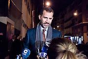 The prince Felipe visits Don Juan Carlos at the clinic San jose - Madrid