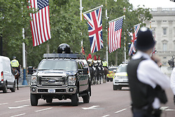 © Licensed to London News Pictures. 03/06/2019. London, UK. A US Secret service vehicle is police escorted on The Mall during Donald Trump's State Visit to the United Kingdom. During his three days in the UK he will meet with members of the Royal family and outgoing Prime Minister Theresa May before attending 75th Anniversary of D-Day commemorations in Portsmouth and France. Photo credit: Peter Macdiarmid/LNP