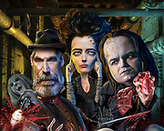 """Explorer Sir Malcolm Murray (Timothy Dalton), possessed Vanessa Ives (Eva Green), Frankenstein's """"The Creature"""" (Rory Kinnear) combat in supernatural struggles in Victorian London. Photoshop. Originally created for Penthouse TV Review."""