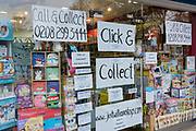 The window of the 'Just William' childrens' toy shop which is open for Click and Collect pre-orders at their shop in East Dulwich, on 25th December 2020, in London, England.
