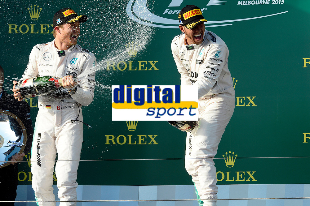 HAMILTON lewis (gbr) mercedes gp mgp w06 ambiance portrait<br /> ROSBERG nico (ger) mercedes gp mgp w06 ambiance portrait podium  during 2015 Formula 1 championship at Melbourne, Australia Grand Prix, from March 13th to 15th. Photo DPPI / Eric Vargiolu. during 2015 Formula 1 championship at Melbourne, Australia Grand Prix, from March 13th to 15th. Photo DPPI / Eric Vargiolu.