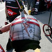 The painted helmet of Austin Dillon is seen during practice for the 60th Annual NASCAR Daytona 500 auto race at Daytona International Speedway on Friday, February 16, 2018 in Daytona Beach, Florida.  (Alex Menendez via AP)