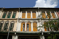 A shophouse is a vernacular architectural building type that is unique to Southeast Asia. This hybrid building form characterises many  towns in the region, especially Singapore.  Traditionally, many shophouses would have been plastered an off-white colour. Other popular early colours were indigo and ochre, given the range of available pigments. By the mid-20th century, pastel colours (rose pink, baby blue, light yellow, etc) became popular, and they remain the colours that most people most strongly associate with these buildings.