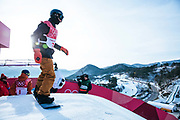 Michael Schaerer, Switzerland dropping in for his first hit of the mens snowboard big air qualification practice at the Pyeongchang 2018 Winter Olympics on February 21st 2018, at the Alpensia Ski Jumping Centre in Pyeongchang-gun, South Korea