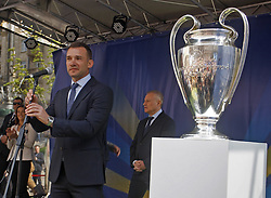 April 21, 2018 - Kiev, Ukraine - ANDRIY SHEVCHENKO, Ukrainian former soccer player and ambassador for the UEFA Champions League final in Kiev speaks during a handover ceremony in downtown Kiev, Ukraine, on 21 April 2018. Kiev will host the UEFA Champions League Final matches on 24 and 26 May 2018. (Credit Image: © Serg Glovny via ZUMA Wire)