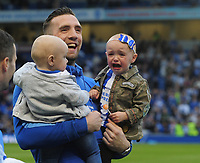Football - 2016 / 2017 Championship - Brighton & Hove Albion vs. Bristol City<br /> <br /> Shane Duffy of Brighton sees the funny side as his two Children are not too happy to celebrate at The Amex.<br /> <br /> COLORSPORT/ANDREW COWIE