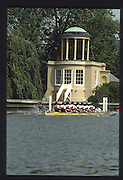 """Henley on Thames. United Kingdom. General Views GV, Crew passing passing the """"folly"""" on Temple Island 1990 Henley Royal Regatta, Henley Reach, River Thames. 06/07.1990<br /> <br /> [Mandatory Credit; Peter SPURRIER/Intersport Images] 1990 Henley Royal Regatta. Henley. UK"""