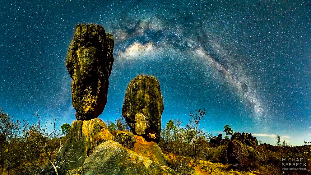 Balancing Rock, near Chillagoe, against the backdrop of the Milky Way, taken by moonlight.<br /> <br /> Limited Edition of 25