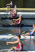 Hazewinkel, BELGIUM,  Men's Lightweight single Sculls, top to bottom, Matt NEAME, Matt BEECHEY, Richard CHAMBERS, Zac PURCAHSE, Rob WILLIAMS and Bob HEWITT,  move away from the start pontoon in the Sunday afternoon semi final, at the GB Rowing Senior Trials, on Sun,15.04.2007  [Credit, Peter Spurrier/Intersport-images]   [Mandatory Credit, Peter Spurier/ Intersport Images]. , Rowing Course, Bloso, Hazewinkel. BELGUIM