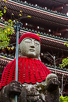 Jizo images and statues are popular in Japan as Bodhisattva who console beings awaiting rebirth as well as comfort for travelers. As such they are often found along roadsides, paths or even street corners. This jizo is found at Chikurinji a Shingon Buddhist temple, number 31 on the Shikoku 88 Temple Pilgrimage famous for its pond garden. It is allso famous for its spring that is said to be beneficial to those with eye afflictions.