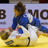 Natsumi Tsunoda (top) of Japan and Charline Van Snick (bottom) of Belgium fight during the Women -52 kg category at the Judo Grand Prix Budapest 2018 international judo tournament held in Budapest, Hungary on Aug. 10, 2018. ATTILA VOLGYI