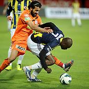 Fenerbahce's Moussa Sow (R) during their Turkish Super League soccer match MP Antalyaspor between Fenerbahce at the Ataturk stadium in Antalya Turkey on Sunday 17 March 2013. Photo by TURKPIX