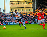 Ryan Fredericks of Fulham Jiri Skalak of Brighton and Hove Albion during the Sky Bet Championship match at Craven Cottage, London<br /> Picture by Richard Brooks/Focus Images Ltd 07947656233<br /> 02/01/2017