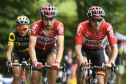 July 8, 2017 - Station Des Rousses, FRANCE - Belgian Thomas De Gendt of Lotto Soudal and Australian Adam James Hansen of Lotto Soudal pictured in action during the eighth stage of the 104th edition of the Tour de France cycling race, 187,5km from Dole to Station des Rousses, France, Saturday 08 July 2017. This year's Tour de France takes place from July first to July 23rd. BELGA PHOTO YORICK JANSENS (Credit Image: © Yorick Jansens/Belga via ZUMA Press)