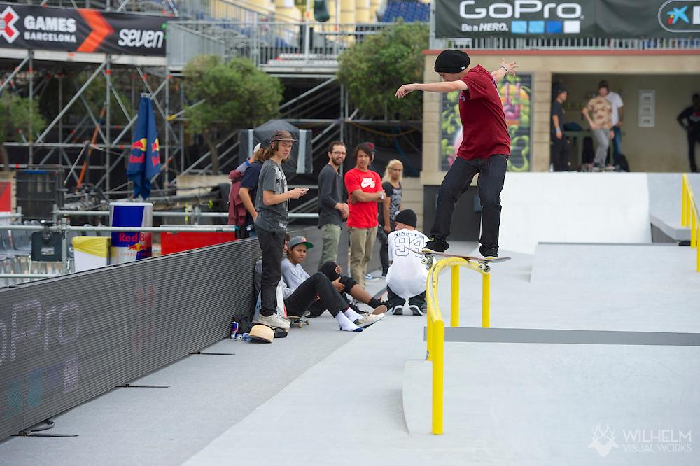 Tom Asta during Men's Skate Street League Practice at the 2013 X Games Barcelona in Barcelona, Spain. ©Brett Wilhelm/ESPN