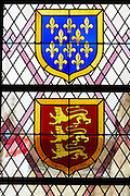 stained glass windows coat of arms couvent jacobins, salle dominicains saint emilion bordeaux france