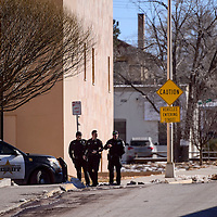 Gallup police officers blockade the roads outside the McKinley County Courthouse following a bomb threat Friday in Gallup.