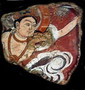 Fragment of wall painting showing the flying Apsara An Apsara also known as Vidhya Dhari, is a female spirit of the clouds and waters in Hindu and Buddhist mythology.  2nd century, Central Asia, Duldur Aqûr-site in China