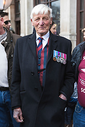 "© Licensed to London News Pictures. 12/04/2019. London, UK. Ex-soldier Dennis Hutchings (centre), who faces trial in connection with a fatal shooting in Northern Ireland in 1974, attends a ""rolling thunder"" biker protest in Parliament Square. Photo credit: Rob Pinney/LNP"