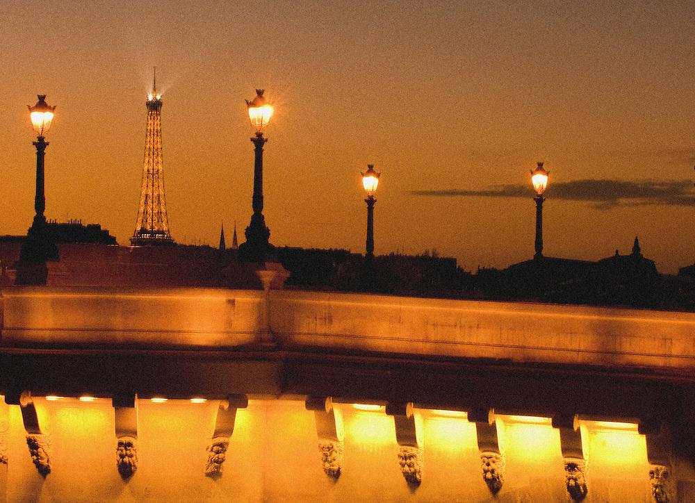 Bridge lights and Eiffel Tower