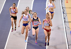 Latvia's Liga Velvere in front with Romania's Bianca Razor and Norway's Hedda Hynne behind competing in the Women's 800m heat 3 during day one of the European Indoor Athletics Championships at the Emirates Arena, Glasgow.