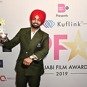 Jordan Sandhu receive an award at the BritAsiaTV Presents Kuflink Punjabi Film Awards 2019 at Grosvenor House, Park Lane, London,United Kingdom. 30 March 2019