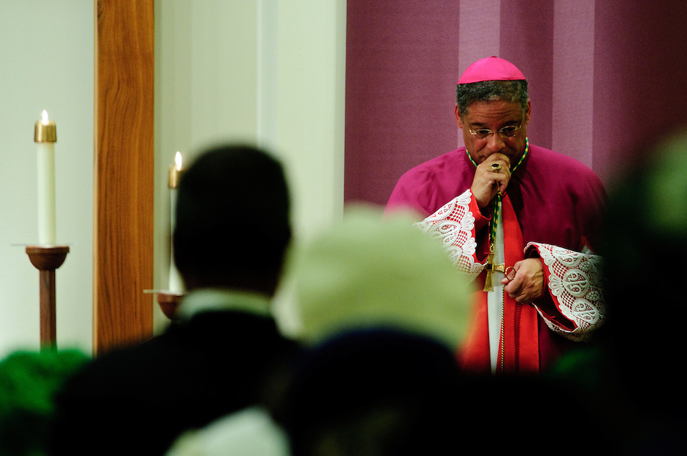 Chicago Auxiliary Bishop Joseph N. Perry presides at a Solemn Vesper Service at St. Ailbe Catholic Church on the city's south side. February 24, 2012 l Brian J. Morowczynski~ViaPhotos..For use in a single edition of Catholic New World Publications, Archdiocese of Chicago. Further use and/or distribution may be negotiated separately. ..Contact ViaPhotos at 708-602-0449 or email brian@viaphotos.com.