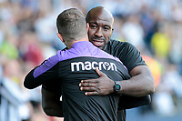 Stoke City manager Gary Rowett embraces West Bromwich Albion manager Darren Moore  before kick off<br /> <br /> Photographer David Shipman/CameraSport<br /> <br /> The EFL Sky Bet Championship - West Bromwich Albion v Stoke City - Saturday September 1st 2018 - The Hawthorns - West Bromwich<br /> <br /> World Copyright © 2018 CameraSport. All rights reserved. 43 Linden Ave. Countesthorpe. Leicester. England. LE8 5PG - Tel: +44 (0) 116 277 4147 - admin@camerasport.com - www.camerasport.com