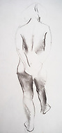 Charcoal drawing of young female nude posing.