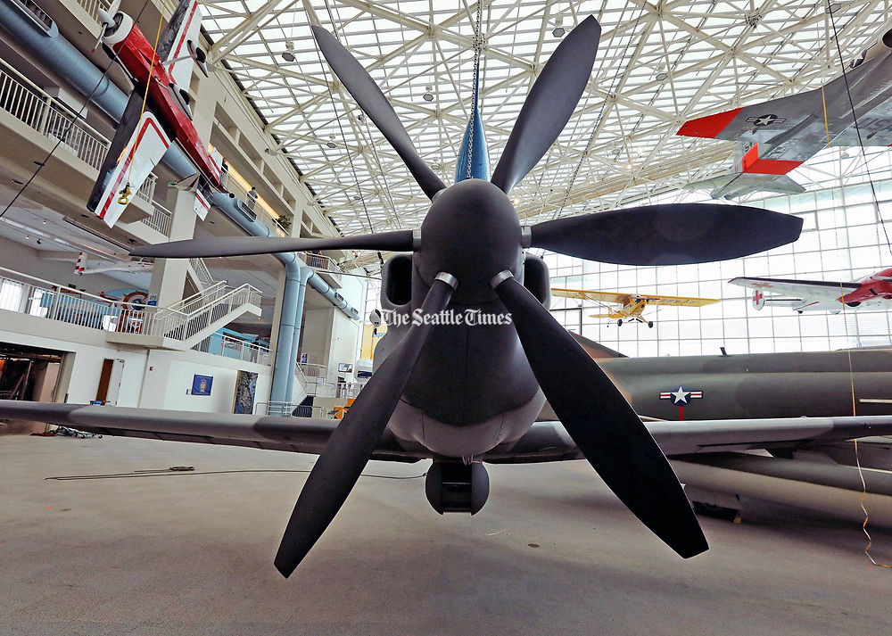 The 1969 Lockheed YO-3A with a Continental YO-360D 210HP engine using a six-blade propeller, to reduce engine noise to allow the engine to operate at a lower speed. (Greg Gilbert / The Seattle Times)