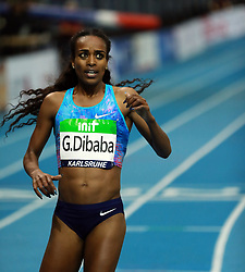 KARLSRUHE, Feb. 4, 2018  Genzebe Dibaba of Ethiopia competes during Women's 1500m final of the 2018 IAAF World Indoor Tour in Karlsruhe, Germany, on Feb. 3, 2018. Genzebe Dibaba claimed the title with 3:57.45. (Credit Image: © Luo Huanhuan/Xinhua via ZUMA Wire)