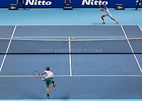 Tennis - 2017 Nitto ATP Finals at The O2 - Day Five<br /> <br /> Group Boris Becker Singles: Roger Federer (Switzerland) Vs Marin Cilic (Croatia)<br /> <br /> A wide view of Roger Federer (Switzerland) serving to Marin Cilic (Croatia) at the O2 Arena<br /> <br /> COLORSPORT/DANIEL BEARHAM