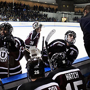 Rick Bennett, Union College head coach, (right), talks to Shayne Gostisbehere during a time out during the Yale Vs Union College, Men's College Ice Hockey game at Ingalls Rink, New Haven, Connecticut, USA. 28th February 2014. Photo Tim Clayton