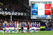 The players from both sides line up as the French national anthem - La Marseillaise is played prior to kick off. Barclays Premier League match, Everton v Aston Villa at Goodison Park in Liverpool on Saturday 21st November 2015.<br /> pic by Chris Stading, Andrew Orchard sports photography.