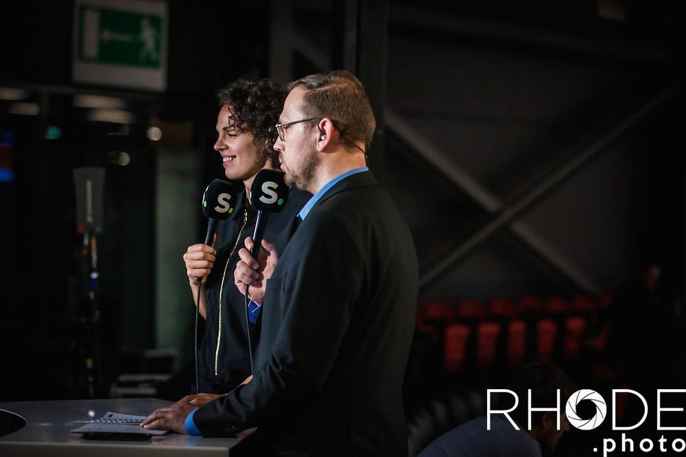 Sofie Hendrickx (ex belgian cat) as co-commentator at Sporza with Christophe Vandegoor<br /> <br /> Day 1 – CANADA (CAN) vs BELGIUM (BEL): 61-56<br /> <br /> FIBA Women's Olympic Qualifying Tournament 2020 – Ostend,  Belgium<br /> Ostend Versluys Dôme (BEL)<br /> <br /> ©RhodePhotoMedia
