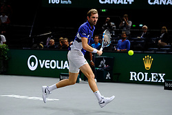 November 3, 2017 - Paris, France - The French player JULIEN BENNETEAU returns the ball to Croatian player MARIN CILIC during the tournament Rolex Paris Master at Paris AccorHotel Arena Stadium in Paris France.Julien Benneteau won 7-6 7-5. (Credit Image: © Pierre Stevenin via ZUMA Wire)
